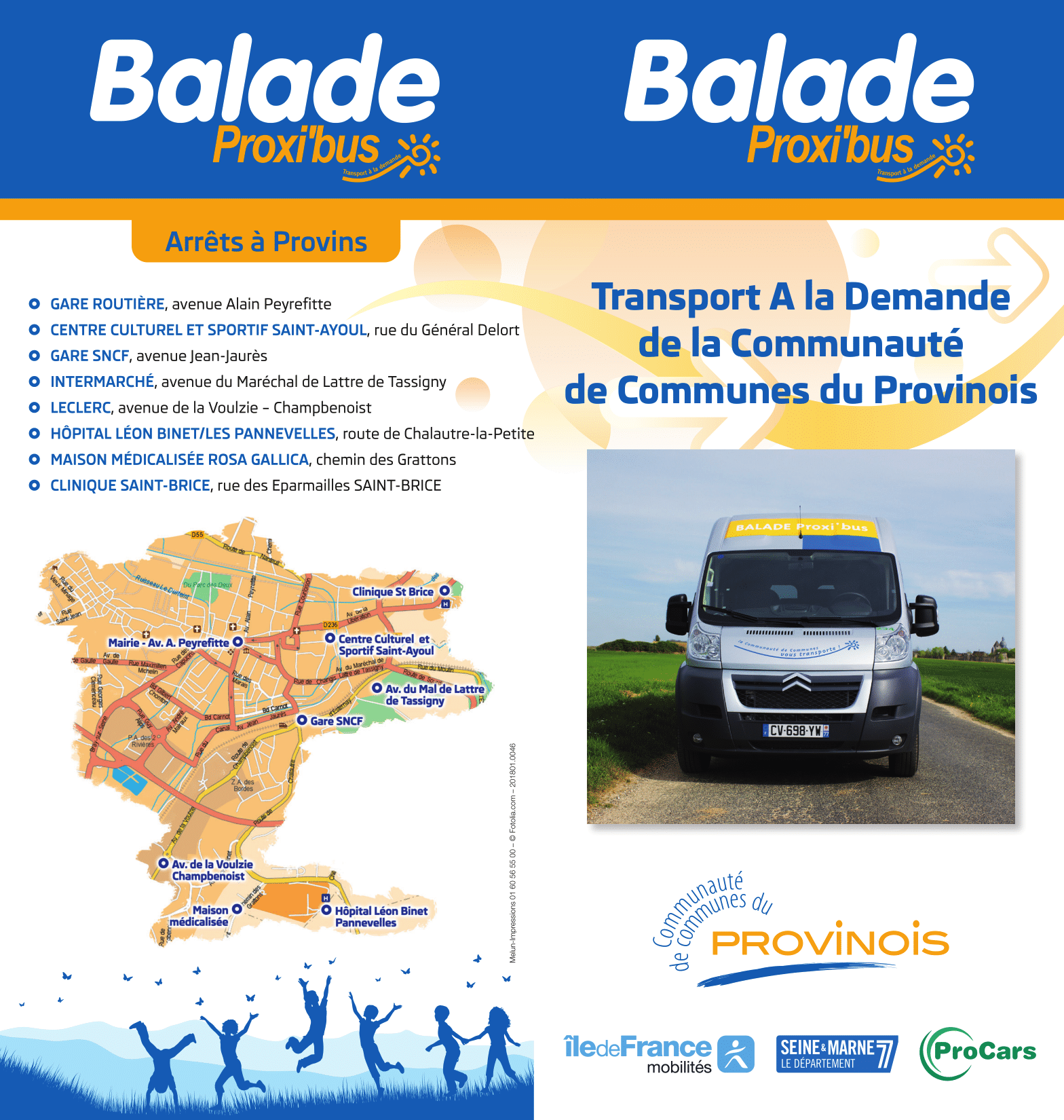 Flyer recto du Transport à la Demande Proxibus Provinois